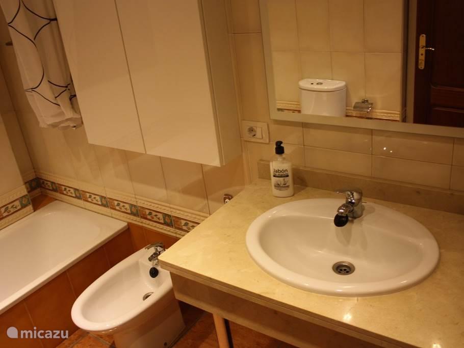 Badkamer met WC, bidet, ligbad/douche en wastafel
