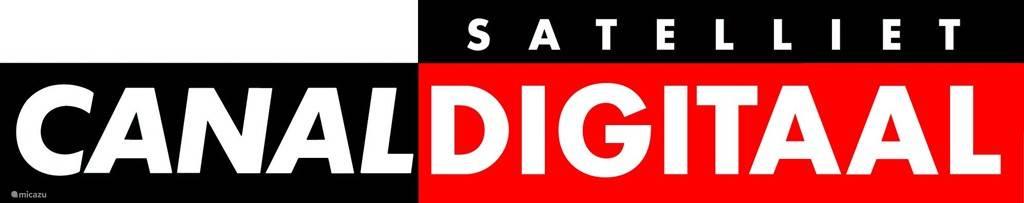 Eigen SAT schotel met Canal Plus Digitale ontvangst van ca. 275 zenders. Te zien op grote Philips Smart TV.
