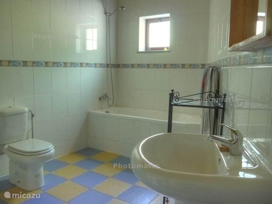 er zijn 2 badkamers, 1 met toilet, bad en douche en 1 met douche en toilet