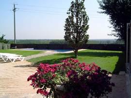 De grote en goed onderhouden tuin en het zwembad hebben een vrij uitzicht.