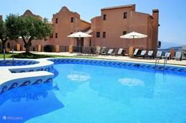 Het grote zwembad met apart peuterbad en ligstoelen