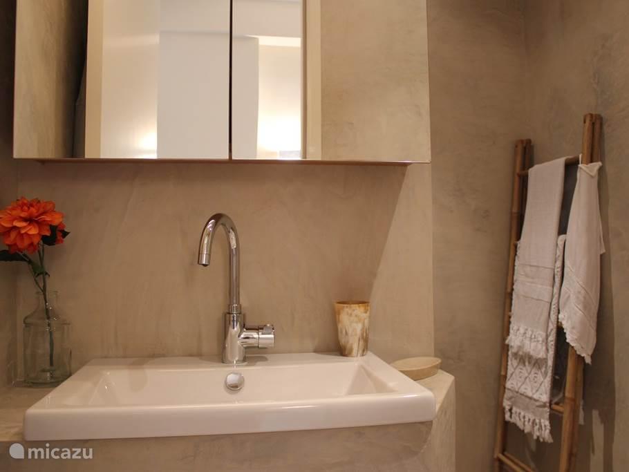 veel opbergruimte in spiegelkast, fohn, fijne badlakens en twee badjassen