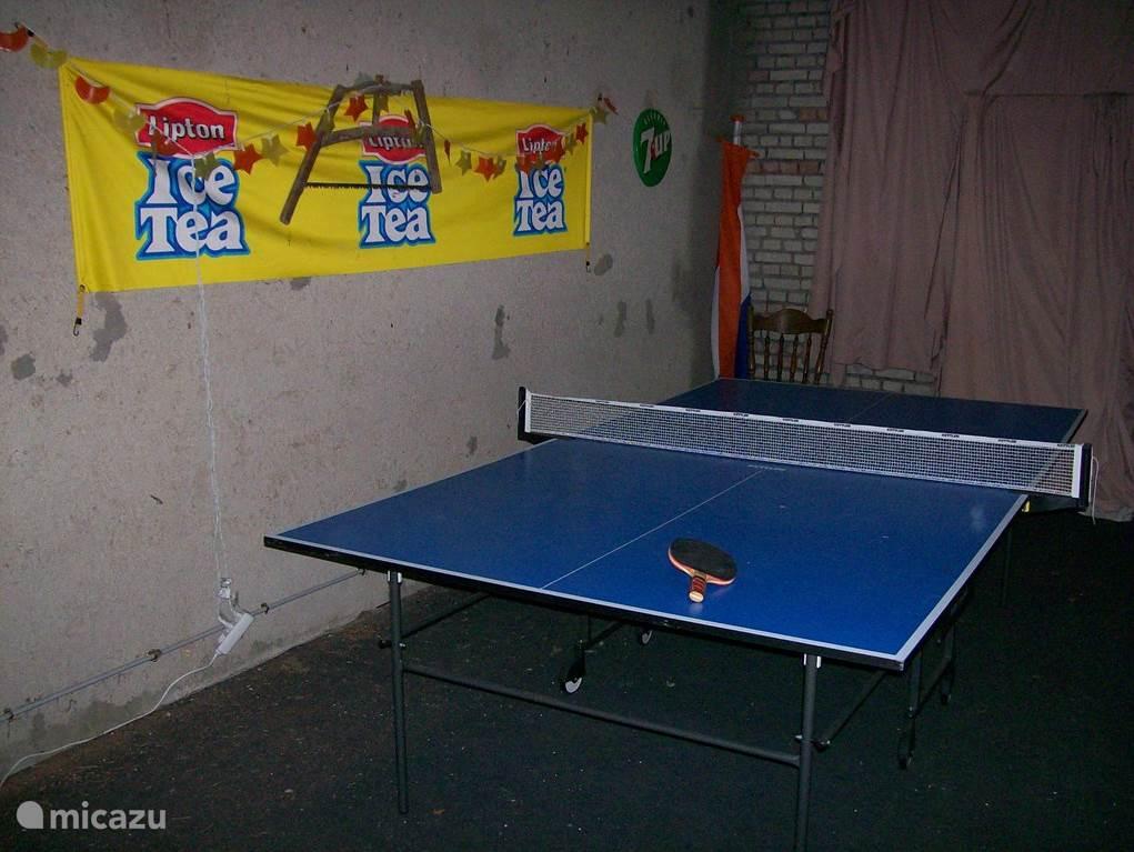 Hooi/speelzolder met tennistafel, tafelvoetbal, dartbord en krijtbord