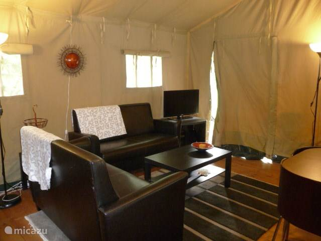 The Glamping tent is very spacious in the middle of the tent 3:50 high.