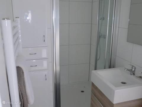 De luxe badkamer met voldoende bergruimte.