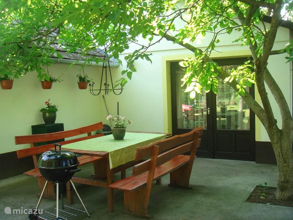 `s Morgens heerlijk ontbijten op het terras onder de notenboom, of BBQ en in de avond .
