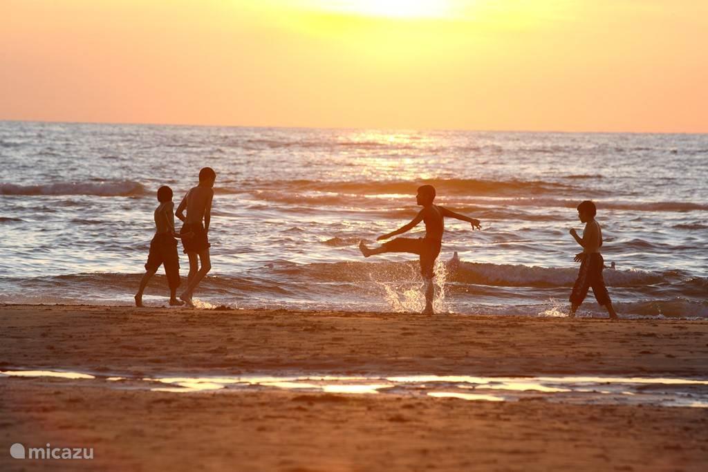 Heerlijk spelen bij zonsondergang aan de Noordwijkse kustlijn.
