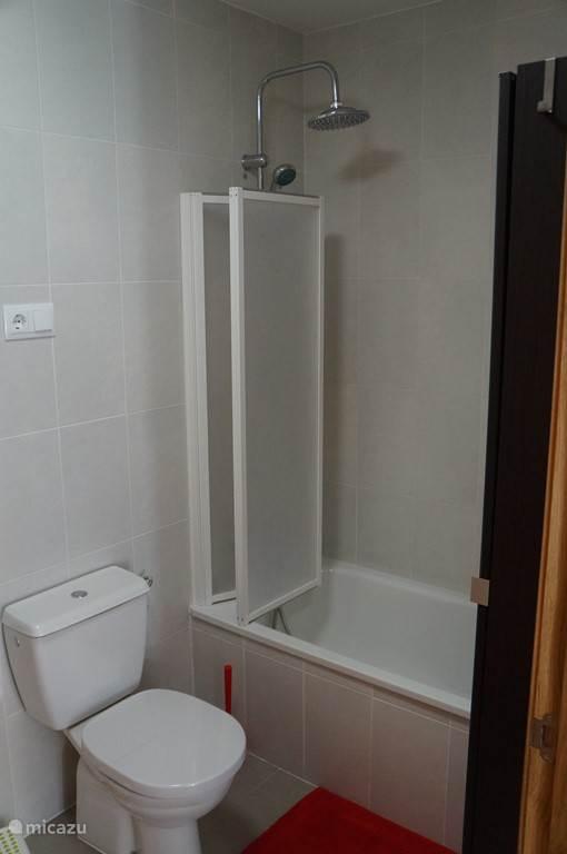 Badkamer met ligbad en stortdouche.