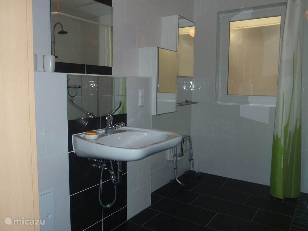 Badkamer met wasbak waar de rolstoel onder past.