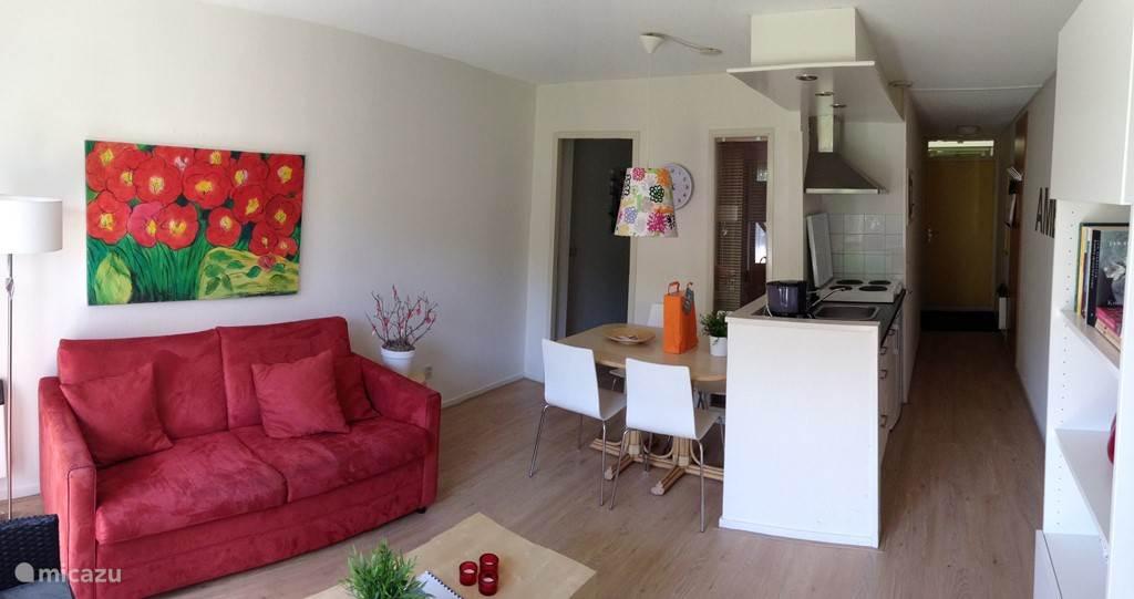 We hebben ons appartement recent compleet gerenoveerd en we zijn trots op het resultaat! Dit is een totaalbeeld.
