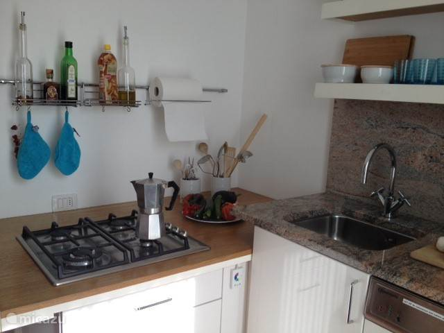 Kitchen with oven, dishwasher, 4 burner stove and refrigerator with freezer.