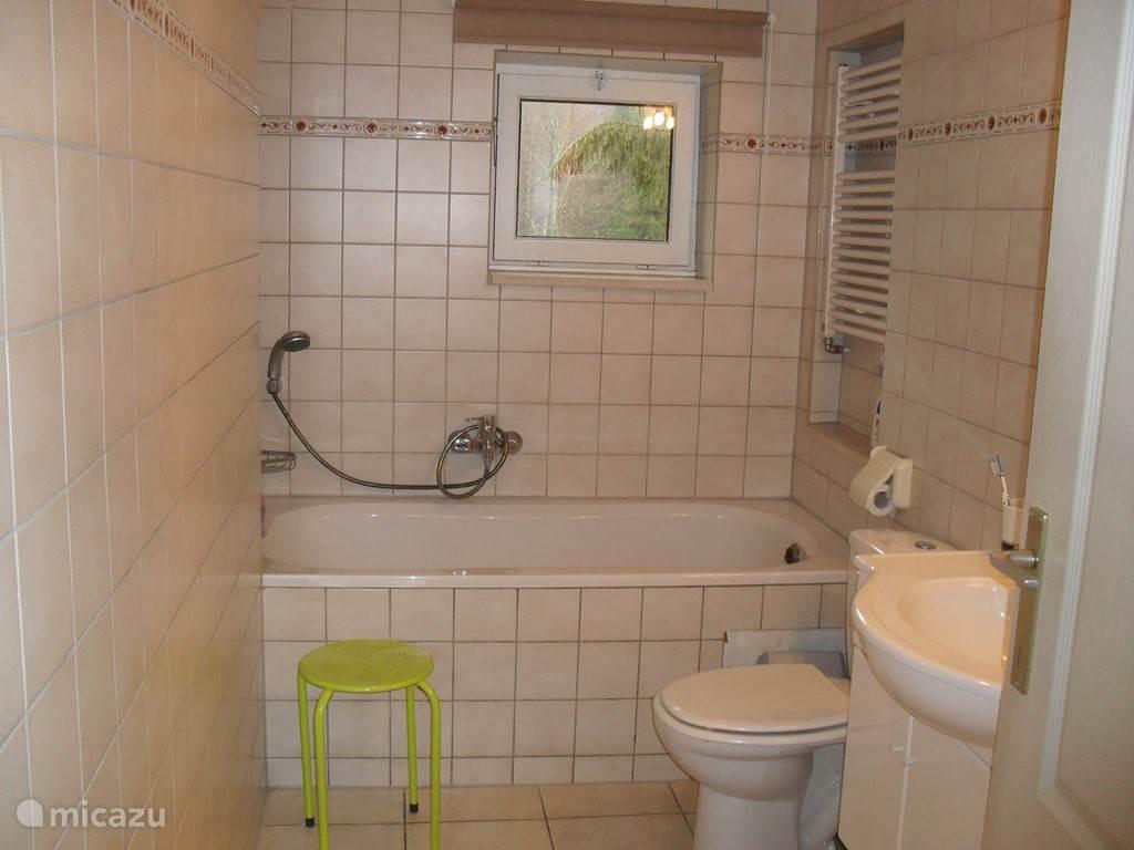 Badezimmer mit Badewanne, WC und Waschbecken