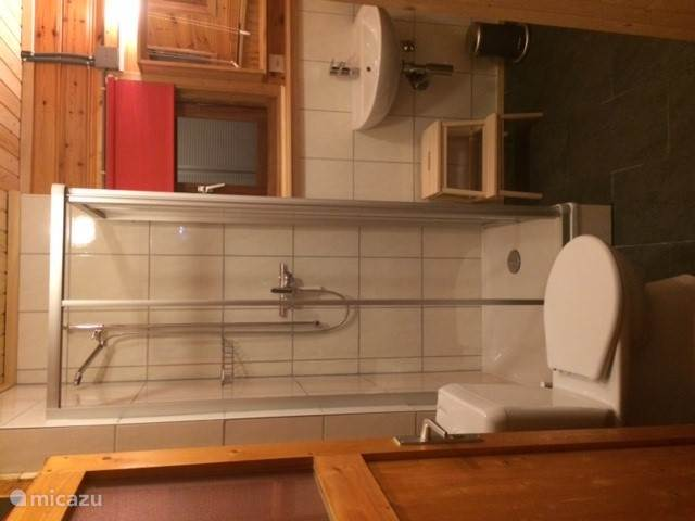 Badkamer no.2 met douche, WC en wastafel.