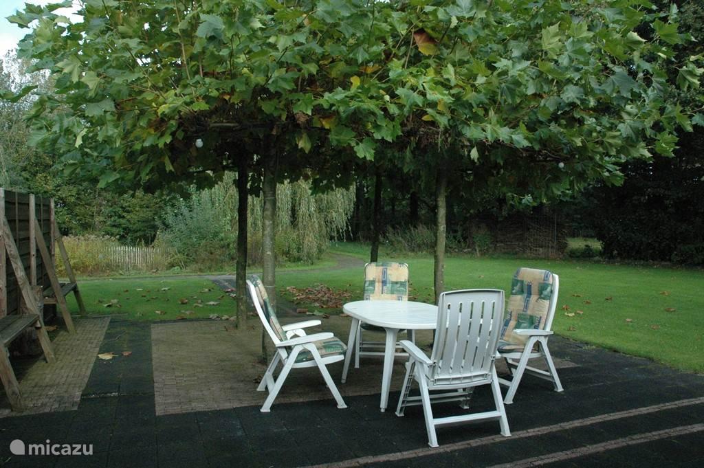 genieten op het terras met een natuurlijke parasol en uitzicht op een mooie vijver.