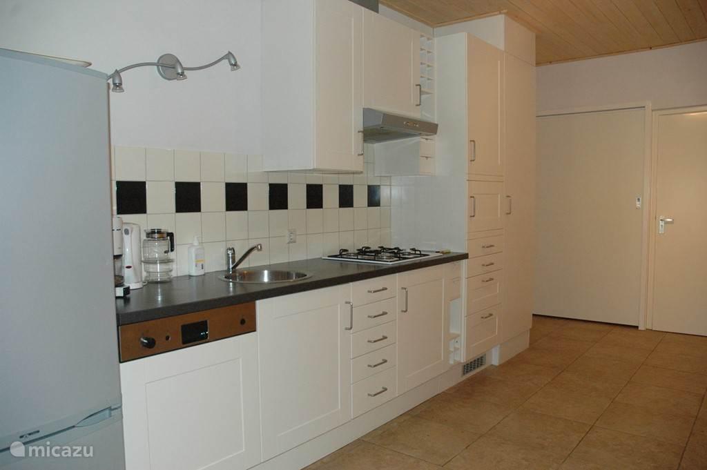 volledig ingerichte keuken met koelkast, vaatwasser, fornuis en magnetron.