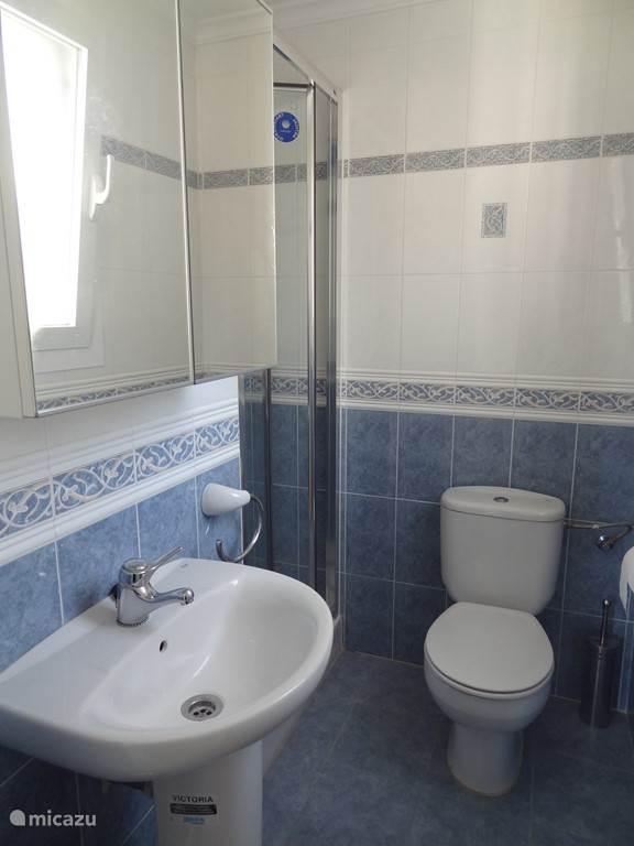Dit is de badkamer die hoort bij de hoofdslaapkamer.