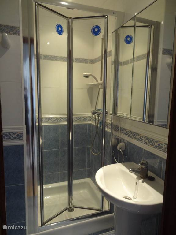 Dit is de tweede badkamer. Ook hier zijn een wastafel, douche en toilet.