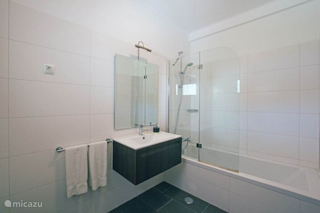 Badkamer 2, grenzend aan slaapkamer 1. Deze badkamer is voorzien van een ligbad met douchescherm, toilet en wastafel.