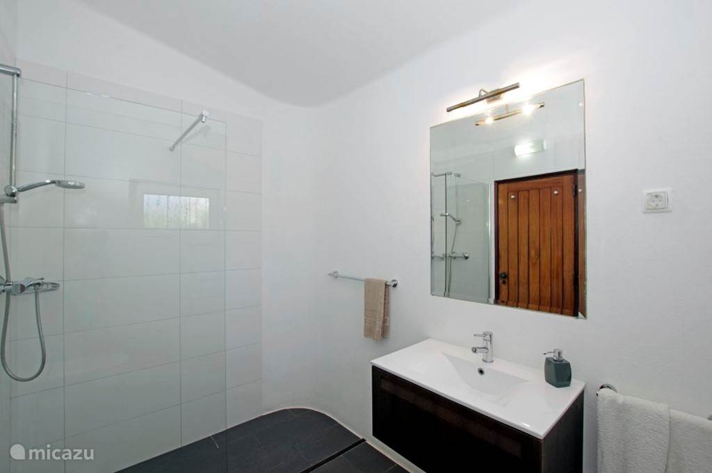 Badkamer 3, grenzend aan slaapkamer 4. Deze badkamer is voorzien van een  douche, toilet en wastafel.