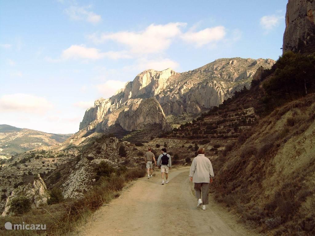 De berg Cabecó d'Or bij Busot (5 km. van de villa) is ook een prachtige omgeving om te wandelen. Het laat je mooie bergkammen zien en veel aangelegde terrassen bouwgrond waardoor het Moorse verleden wordt herinnerd.