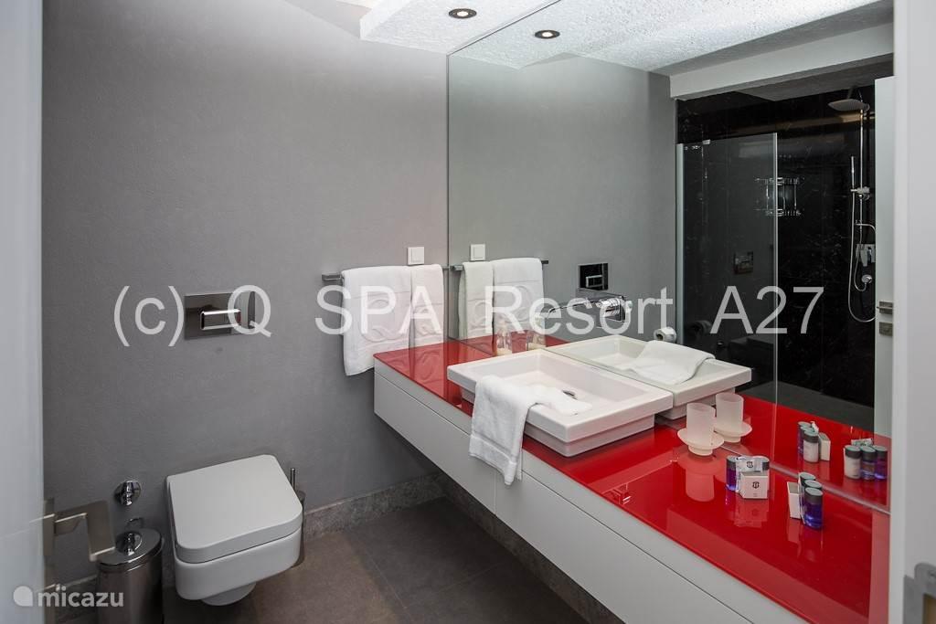 De badkamers zijn modern en stijlvol ingericht met grote spiegels, ruime inloop regendouche, WC, wasbak en sfeervolle LED verlichting.