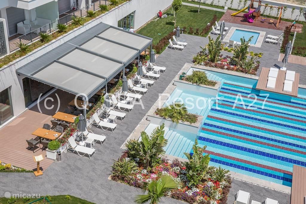Rondom het zwembad ontdek je allerlei mediteraanse tuintjes beplant met vele tropische planten.
