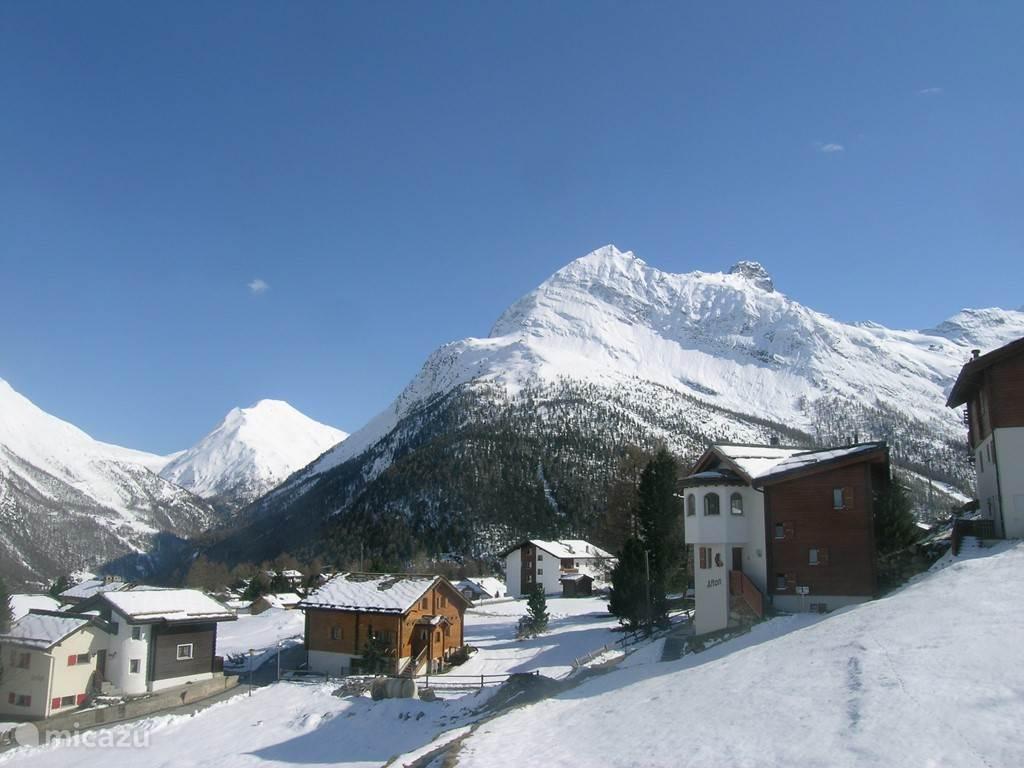 Winter uitzicht vanuit de voorkant naar de bergen