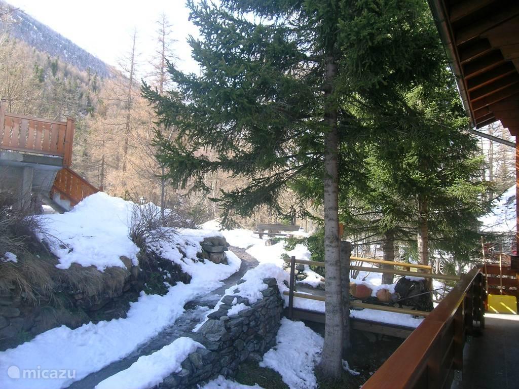 De Carl Zuckmayerweg die langs het huis loopt naar de bossen achterkant van het huis