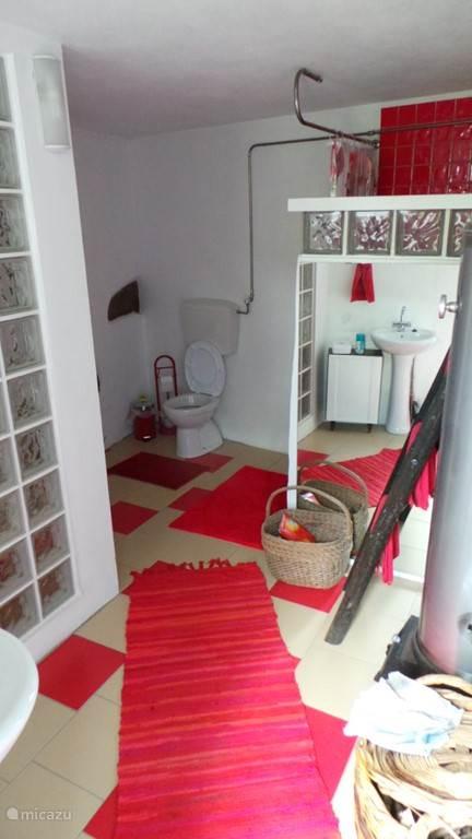 Badkamer met duche, wc, wastafel en houtgestookte boiler voor het warme water