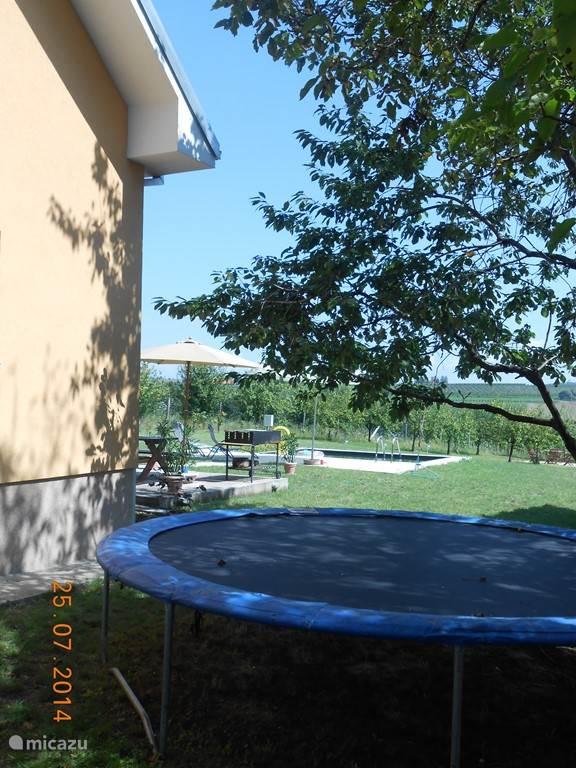 trampoline in de schaduw...