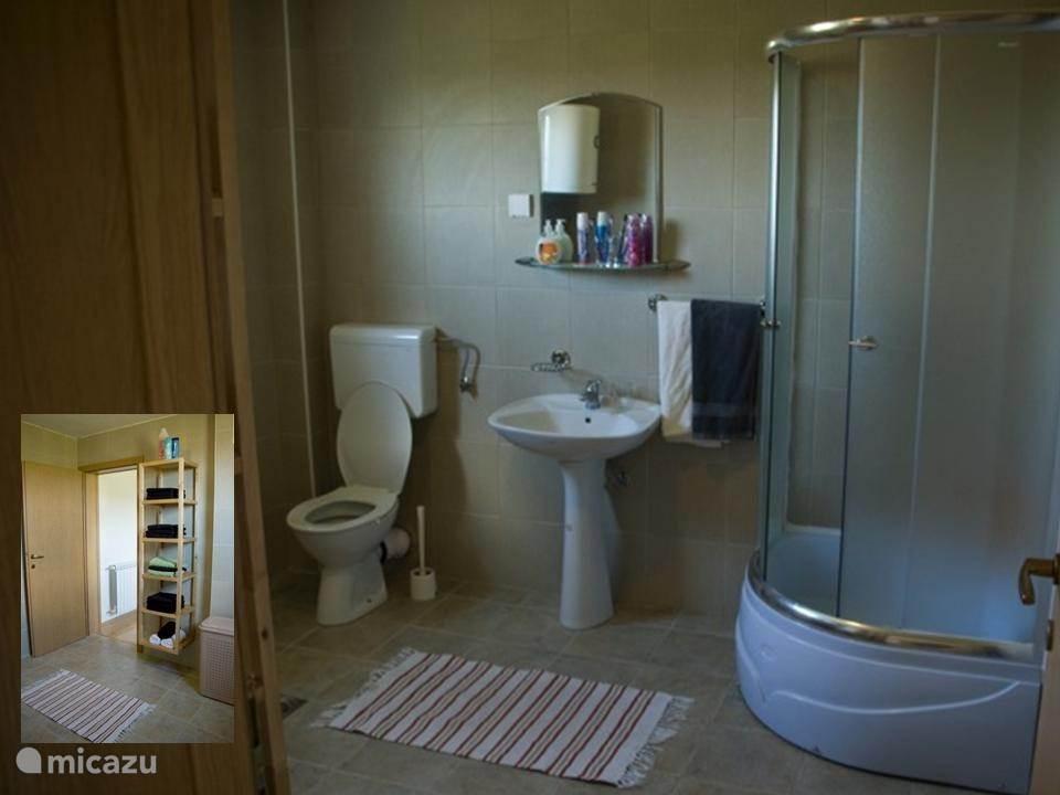 In deze badkamer 1 is er een douche-cabine, een toilet en een wastafel. Deze combinatie staat overigens in alle badkamers.