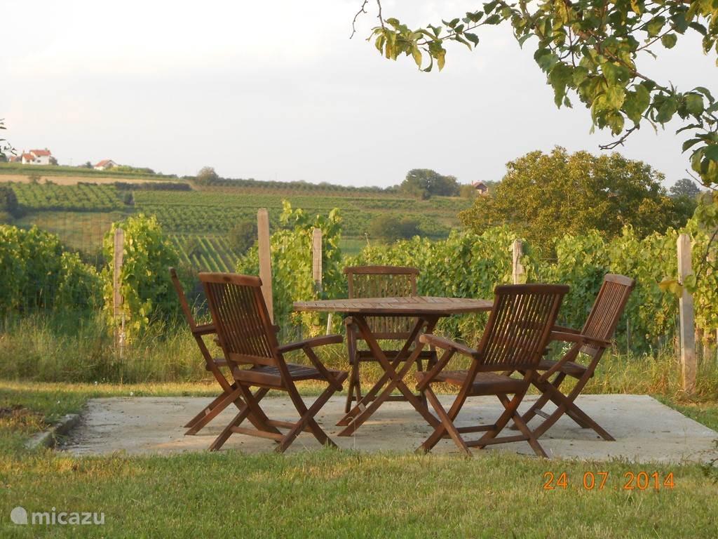 Het terrasje aan de wijngaard... hier kan je 's avonds onder de sterrenhemel een lekker glaasje wijn drinken...