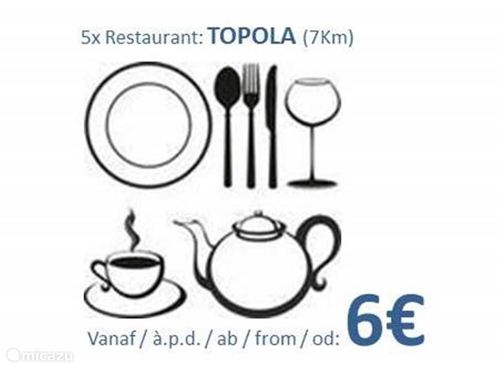 Wanneer je in Villa Vinca geen grill op de BBQ organiseert, dan kan je in Servië gerust elke dag op restaurant gaan eten... Er zijn meer dan 5 restaurantjes in Topola, op 7 Km van de vakantiewoning.