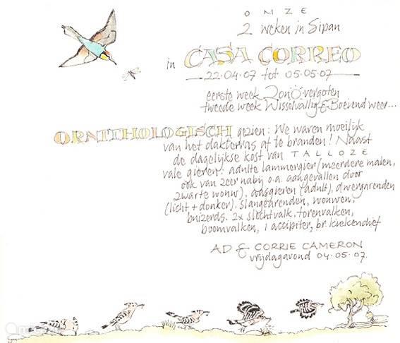 Uit het logboek van Casa Correo.