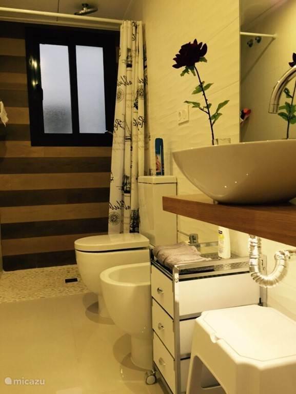 1e badkamer met stortdouche en een normale douche om bvb uw haar uit te wassen  foine ook aanwezig