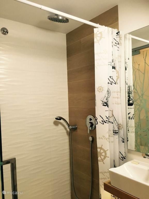 zie hier ook de normale douche aanwezig.