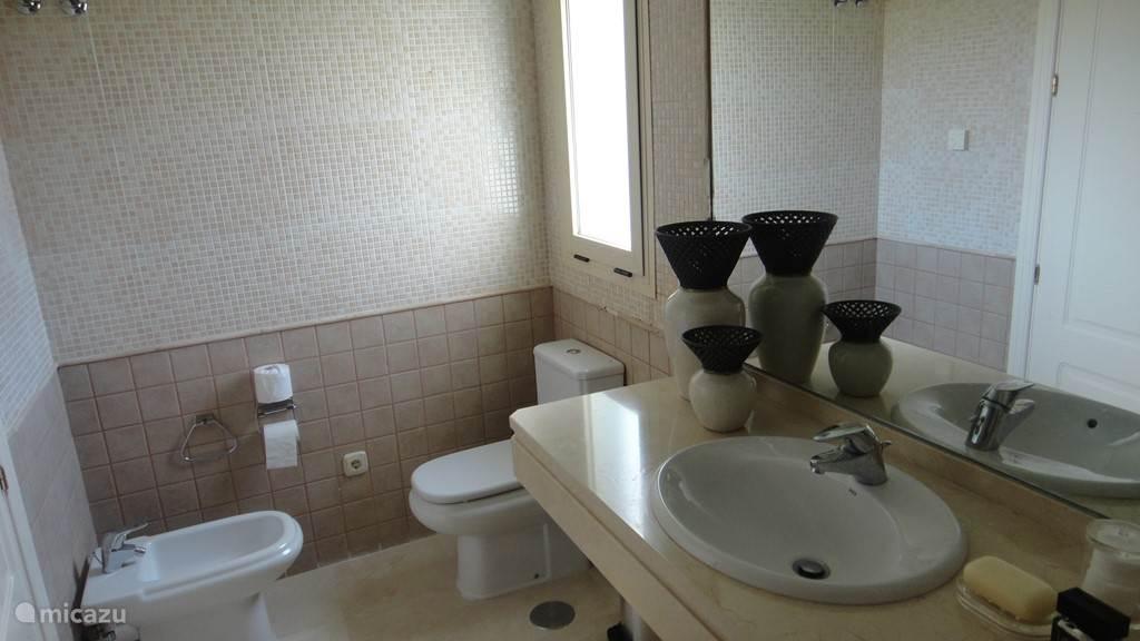 tweede badkamer met bad toilette en bidet