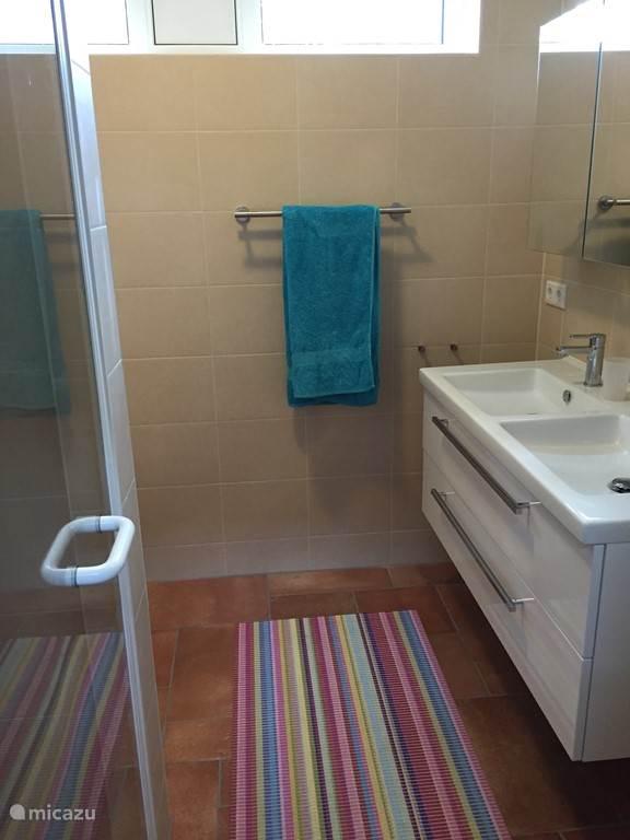 Badkamer met inloopdouche, dubbel wastafelmeubel en wc