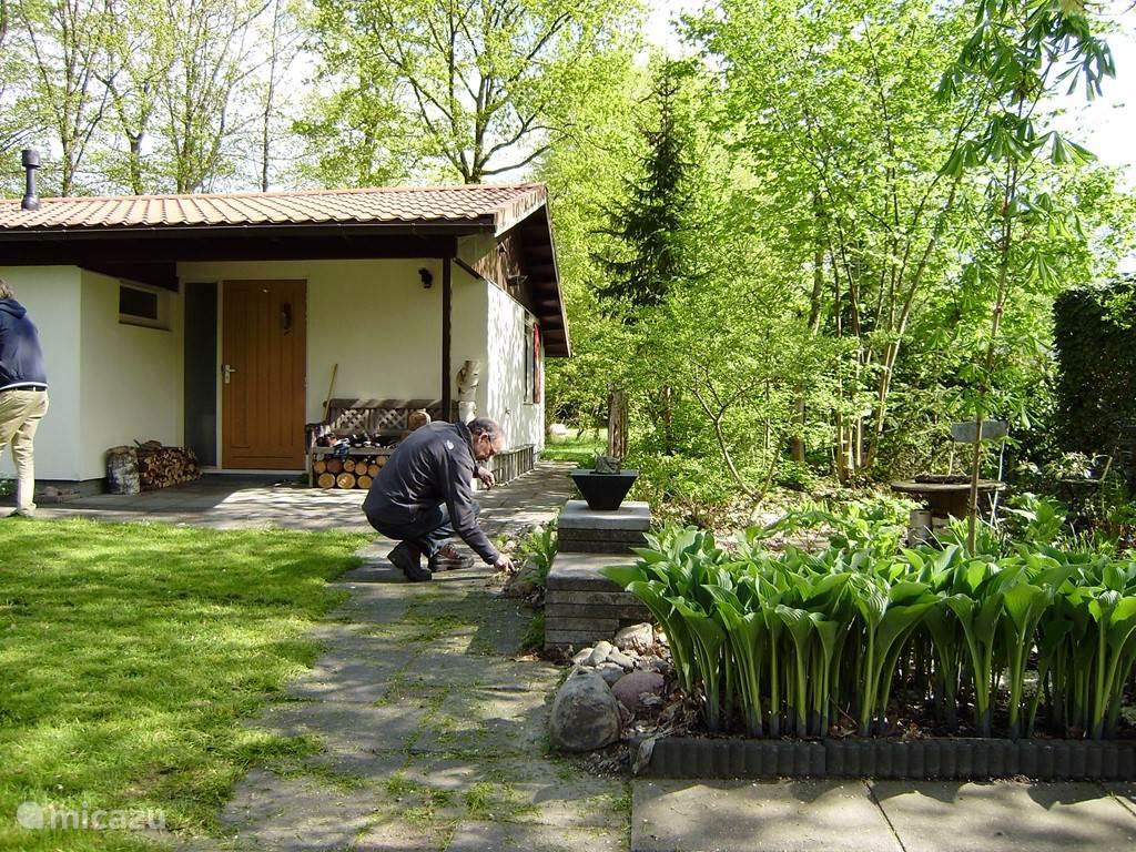 Rondom de bungalow bevinden zich borders, gazons en bospercelen.
