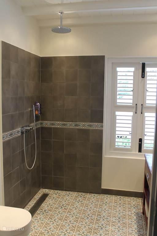 Mooie Portugeze tegeltjes in de badkamer met regen douche.