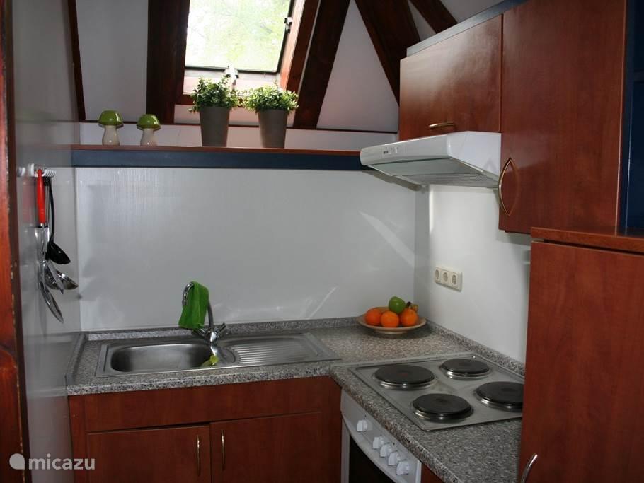 Het huisje is voorzien van een kleine keuken die van alle gemakken is voorzien. Er wordt elektrisch gekookt.