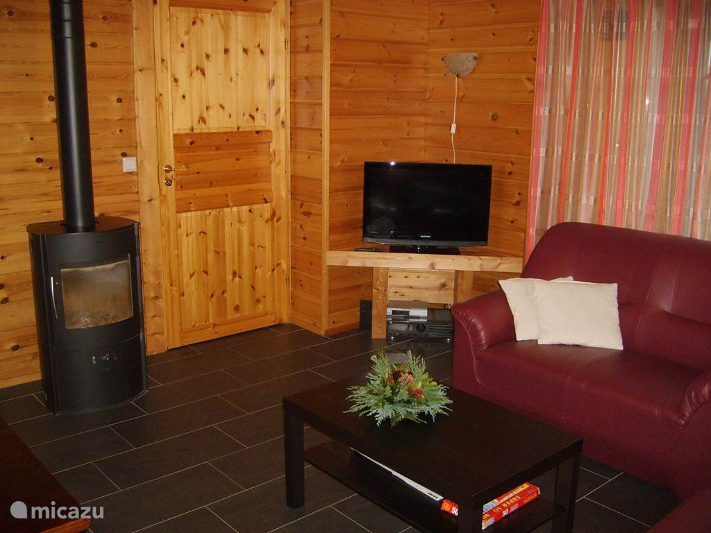 kamer met gezellige houtkachel