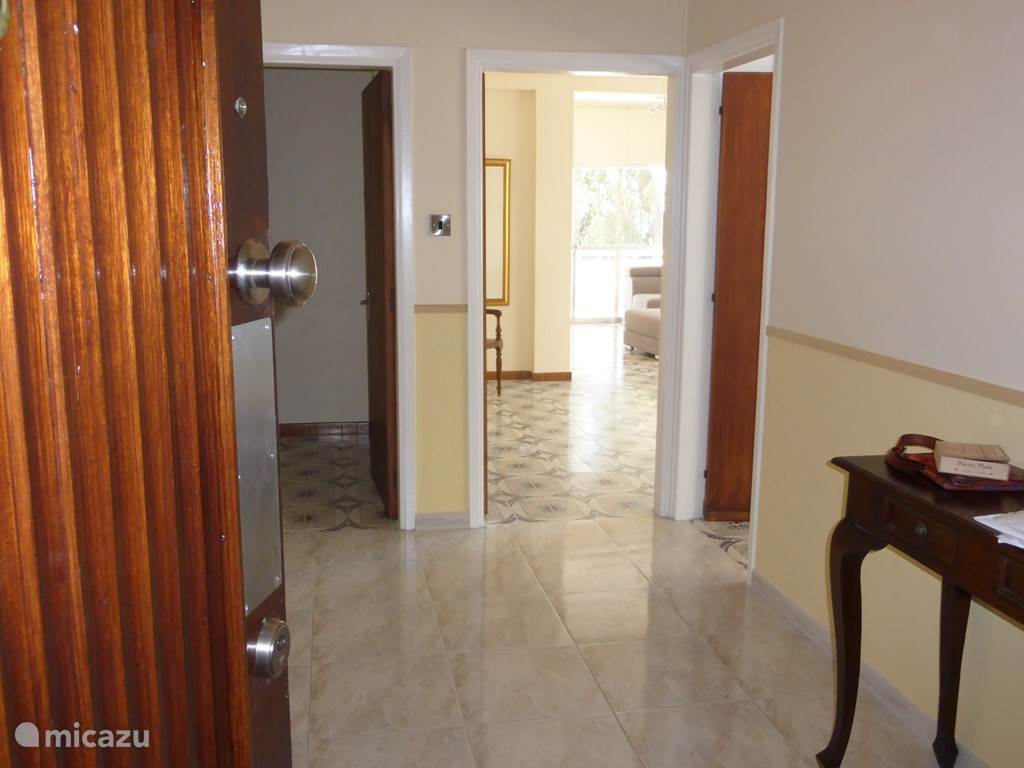 Central hall, on the right is a large kitchen, right in front is the entry to the salon and the left door brings you to the hall where the bathrooms and bedrooms are located.
