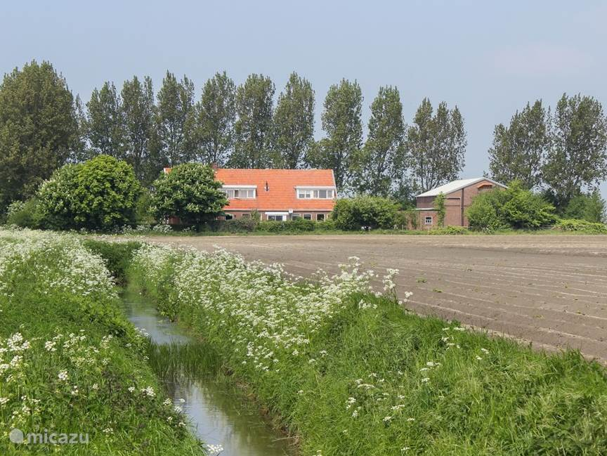 Dit is de voorkant van onze boerderij in de lente. De rechter dakkapel is onderdeel van het appartement.