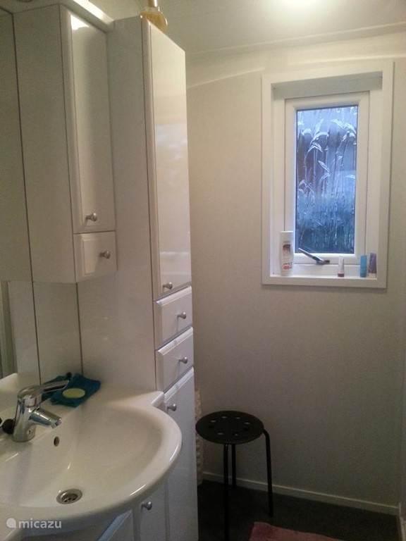Badkamer met douche. Apart toilet