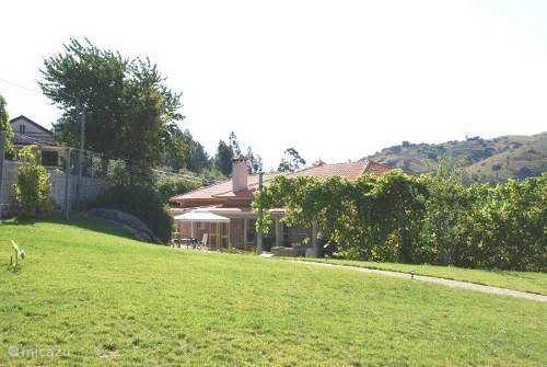 Een blik op de woning vanaf de entree. Een granieten muur aan de ene kant en de druivenranken aan de andere kant zorgen voor veel privacy.