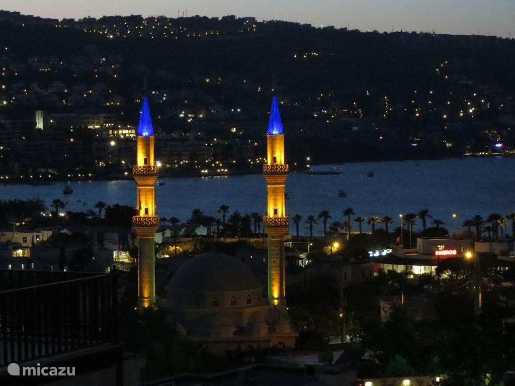 Uitzicht op de prachtig verlichte moskee.