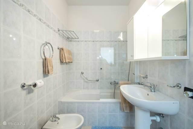 badkamer met douche, bad, bidet en toilet