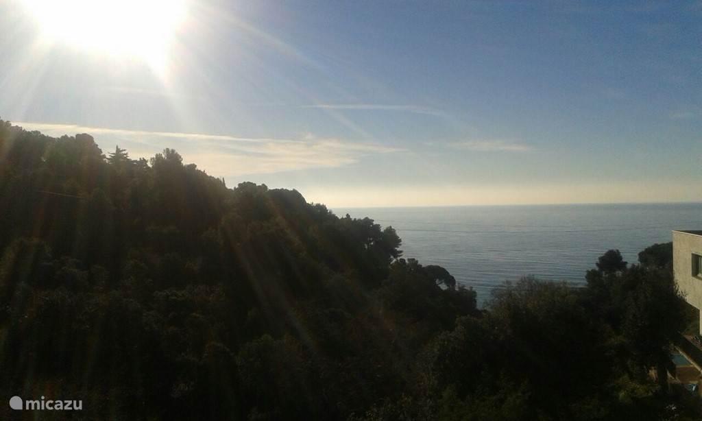 Uitzicht vanaf Can Pedro: bossen en de MIddellandse zee.