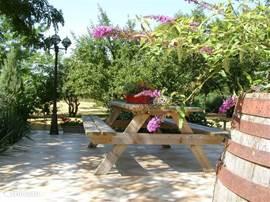 Het lekkere terras voor een kop koffie in de ochtendzon of een drankje tijdens de lange en zwoele zomeravonden.